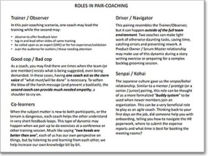 Roles in Pair-Coaching