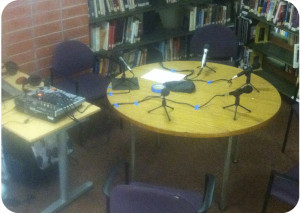 Recording setup in the library of Astancia HS
