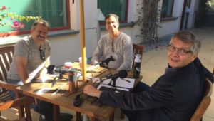 recording episode 56 of the ACP with Ben, Curtis and Larry around the table at Newport Beach Library's Main Branch in Newport Beach, CA